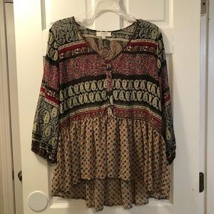 Boutique Sheer Patterned Tunic